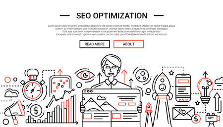 SEO Optimization - illustration of vector modern plain line design composition and infographics elements with a happy male. Header, banner for your site. Иллюстрация