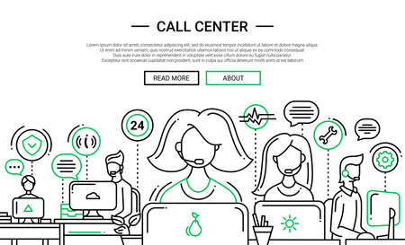 Call Center - illustration of vector modern simple line design composition and infographics elements with people providing technical support. Header, banner for your site.