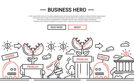 Business Hero - illustration of vector modern simple line design composition and infographics elements with a businessman overcoming obstacles. Header, banner for your site.