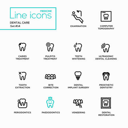 restore: Dental Care - single line pictograms set. Examination, tomography, caries, pulpitis, restoration, implant surgery, bite correction, teeth whitening extraction prosthetic dentistry periodontics
