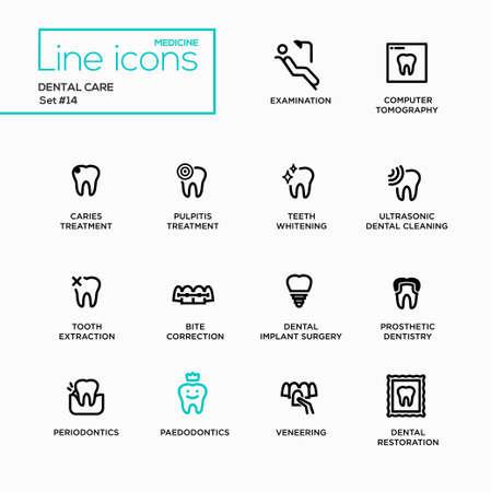 bite: Dental Care - single line pictograms set. Examination, tomography, caries, pulpitis, restoration, implant surgery, bite correction, teeth whitening extraction prosthetic dentistry periodontics
