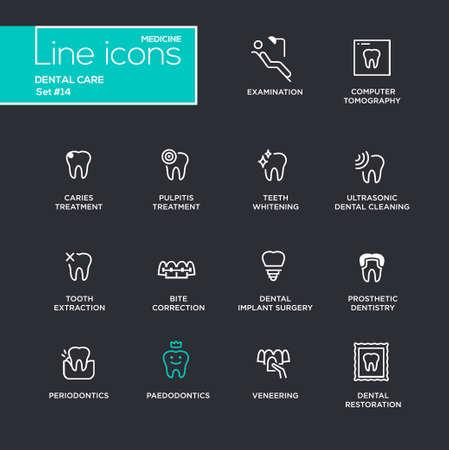 periodontics: Dental Care - single line pictograms set on black background. Examination, tomography, caries, pulpitis, restoration, implant surgery, teeth whitening, extraction, prosthetic dentistry periodontics Illustration