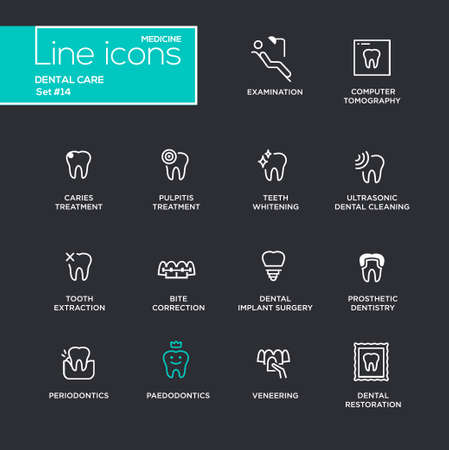 Dental Care - single line pictograms set on black background. Examination, tomography, caries, pulpitis, restoration, implant surgery, teeth whitening, extraction, prosthetic dentistry periodontics Illustration