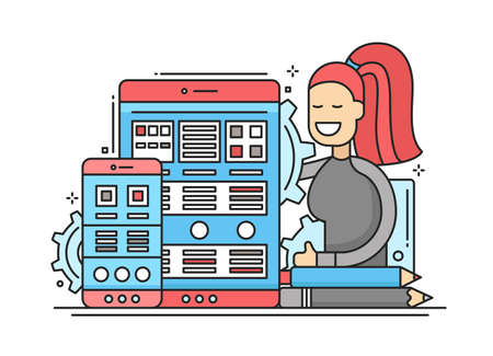 woman work: Web Page Optimization - vector modern flat design illustration with mobile devices and smiling female