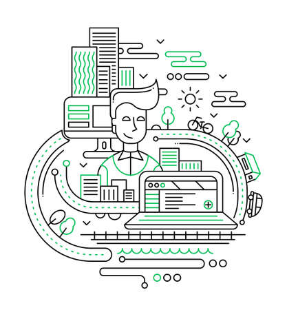 City Life - illustration of vector modern line flat design composition with male, computers, buildings and other infographics elements Ilustrace