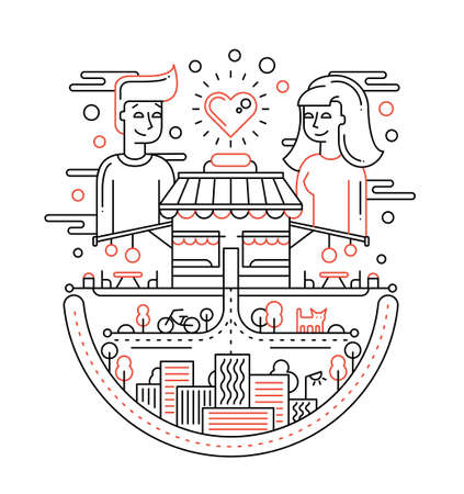 male female: Love in the city - illustration of vector modern line flat design composition with male, female dating Illustration