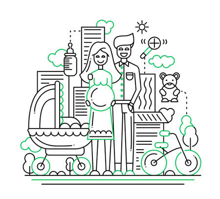happy mom: Illustration of vector modern line flat design city composition and infographics elements with a happy family expecting a baby