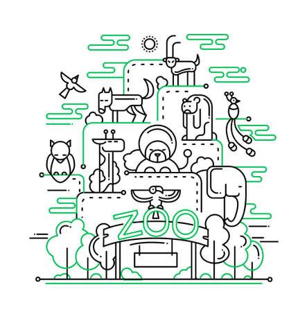 animaux du zoo: Illustration de la composition de design plat vecteur ligne moderne et Zoo éléments animaux sauvages avec le foot