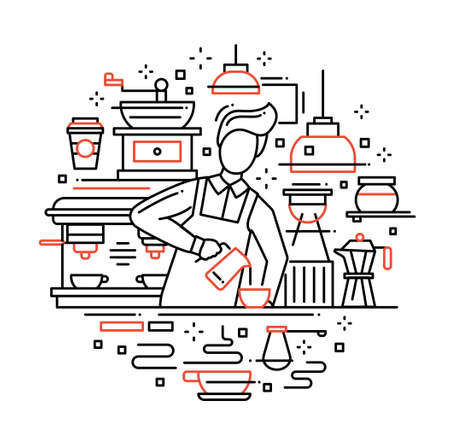 barista: Illustration of vector modern line flat design composition with male barista making and serving cofee at the cafe counter
