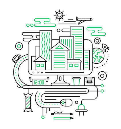 illustration journey: Travel, journey, summer vacation planning. Illustration of vector modern line flat design city composition with city buildings and travel infographics elements