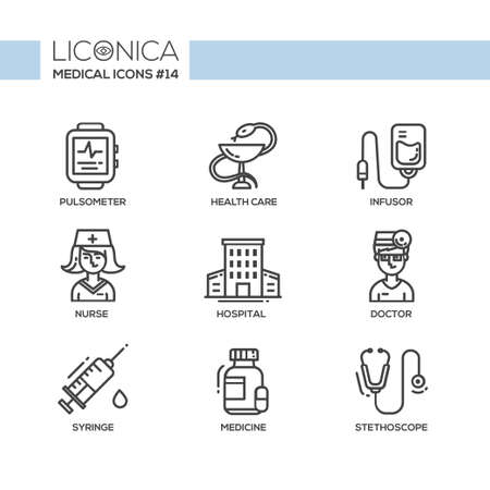 Medical Set - modern vector thin line flat design icons and pictograms. Pulsometer, health care, infusor, nurse, hospital, doctor, syringe, medicine, stethoscope Vector Illustration