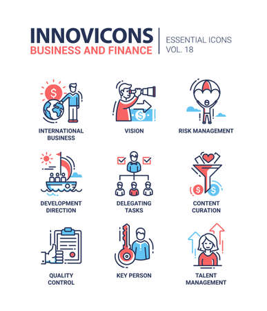 Business and finance - set of modern vector thin line flat design icons and pictograms. International business, vision, risk management, development direction, delegating tasks, content curation, quality control, key person, talent management