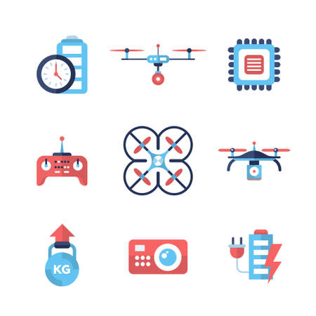 chip set: Drones - set of modern vector flat design icons and pictograms. Quadcopter, remote control, survey, charging, weight, chip