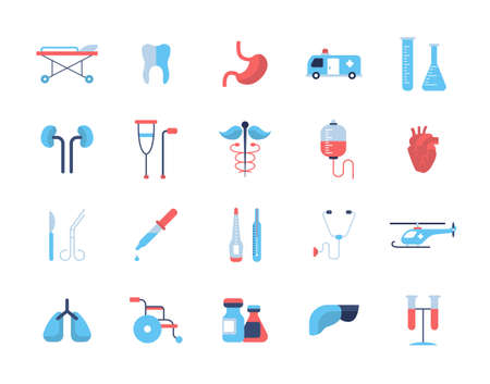 Medical Set - modern vector flat design icons and pictograms. Tooth, stomach, ambulance, kidneys, heart, haemotherapy, thermometer, helicopter lungs wheelchair medicines liver equipment Illustration