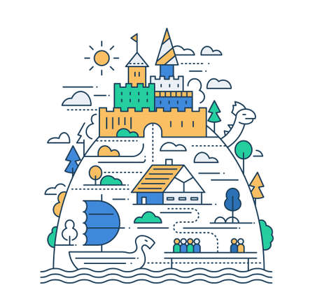 Ancient life - vector modern simple line flat design city composition with historical buildings