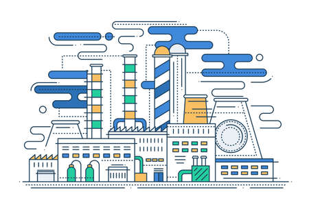 industry design: Heavy Industry - vector modern line flat design city composition illustration with a factory