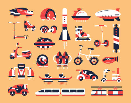 Means of transport - set of modern vector flat design icons and pictograms. Road, air, futuristic, etro, rocket, train, vehicle, electric car, skateboard, hoverboard scooter bicycle airship Ilustração