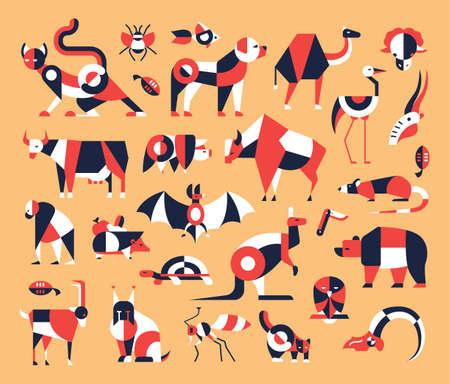 lince: Animales - conjunto de iconos y pictogramas de diseño moderno plano vector. Gato, perro, cerdo, vaca, oso, palo, insectos, peces, aves roedores canguro rata de cabra tortuga