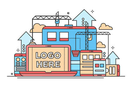 Programming Tools - vector modern flat design illustration with copyspace for Your Logo. Laptop, mobile devices, web page, construction process