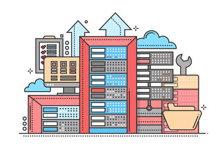 communications tools: Servers - vector modern flat line design illustration with communications equipment and tools Illustration