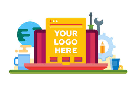 Programming Tools - vector modern flat design illustration with copyspace for Your Logo. Laptop, web page, work place and tools Illustration