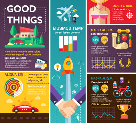 filler: Good Things - info poster, brochure cover template layout with flat design icons, other infographic elements and filler text