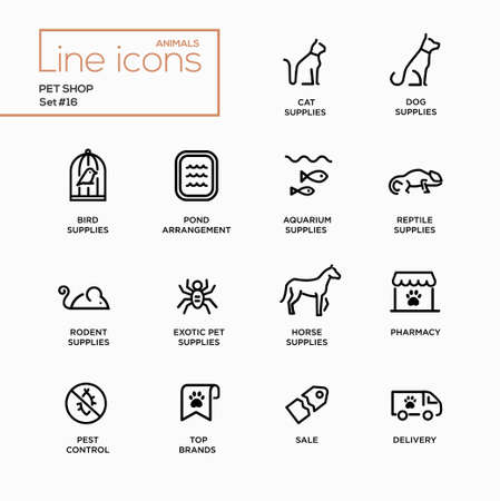 icons: Pet Shop - set of modern vector plain simple thin line design icons and pictograms. Cat, dog, bird, aquarium, reptile, rodent, exotic, horse supplies, pond, pharmacy, brands, pest control delivery Illustration