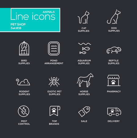 control tools: Pet Shop - modern vector simple thin line design icons and pictograms set - black background. Cat, dog, bird, aquarium, horse, pond, reptile, rodent, exotic, pharmacy, brands pest control delivery Illustration