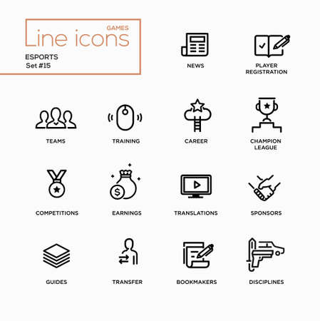 guides: Esports - modern vector plain simple thin line design icons and pictograms set. News, player registration, parties, guides, training, transfer, earnings, competitions, champion bookmakers sponsors