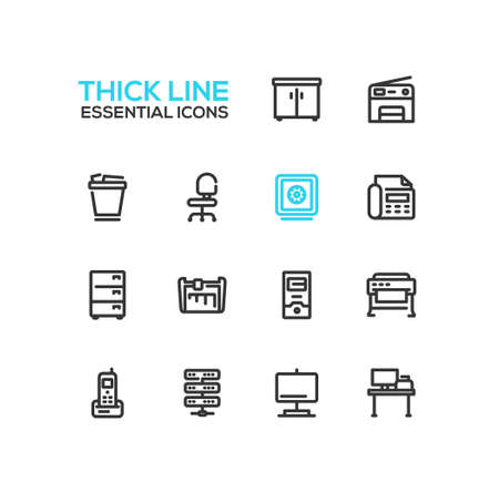 wastepaper basket: Office Supplies - modern vector plain simple thick line design icons and pictograms set. Locker, copier, chair, safe, fax, trash basket, cabinet, computer, plotter, cutter, phone, server work place display