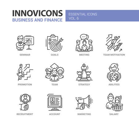 busness: Busness and Fnance - modern vector thin line flat design icons and pictograms set. Seminar, goals, team motivation, promotion, team, strategy, abilities, recruitment, account, marketing salary
