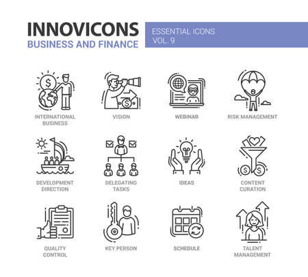 Business and finance - set of modern vector thin line flat design icons and pictograms. International, vision, risk management, development, delegating, content curation, quality, key person, talent