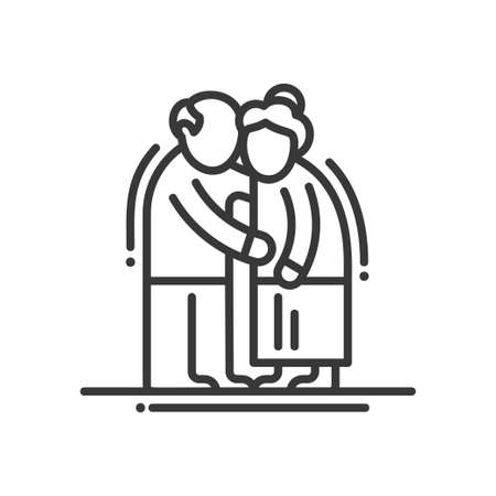 couple together: Elderly couple - vector line design single isolated icon, pictogram. Old man and woman standinng together Illustration