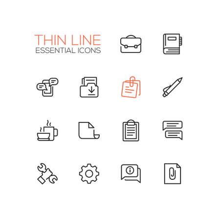 office tool: Business, Office - modern vector thin line design icons, pictograms set. Briefcase, notebook, message, folder, memo, coffee, clipboard, document speech bubble work tool cog information attachment Illustration