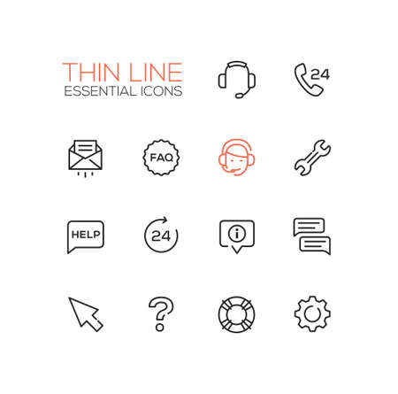 PHONE LINE: Help Center - modern vector simple thin line design icons and pictograms set. Headset, phone, twenty four-seven, mail, faq, support, wrench, information, chat, pointer arrow, question mark, lifebuoy cog Illustration