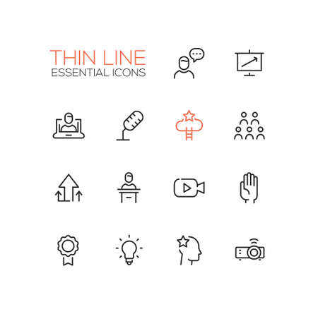 business meeting computer: Business Training- modern vector simple thin line design icons and pictograms set. Speaker, chart, presentation, microphone, achievement, arrow up, tribune, video, hand, badge bulb idea projector