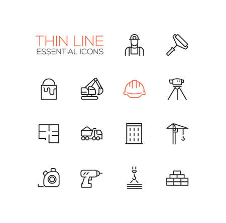 building bricks: Construction - modern vector simple thin line design icons and pictograms set. Worker, roller, paint, excavator, hard cap, survey, plan, truck, building, crane drill bricks steel tape