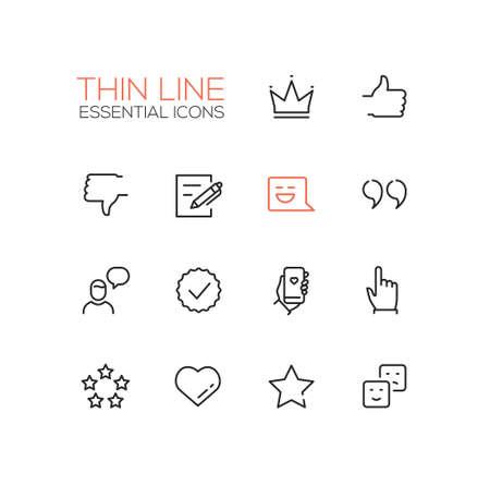 Social Network Signs - moderno vettore semplice linee sottili icone di design e pittogrammi impostati. Corona, come, antipatia, post, messaggio, citazione, chiacchierata, controllo, telefono, emoticon di stelle di stelle clicca Vettoriali