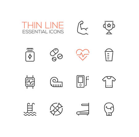 strength training: Sport training - vector thin line design icons and pictograms set. Strength, award, medicine, pulse, food, pulsometer, measuring tape, player, t-shirt, swimming, sugar free race track boxing glove