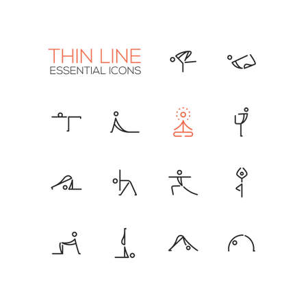 concentrating: Yoga poses - modern vector simple thin line design icons and pictograms set.