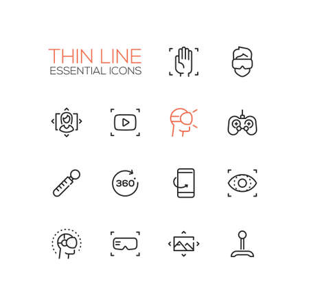 head phones: Virtual Reality - modern vector simple thin line design icons and pictograms set.