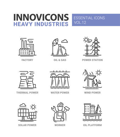 power industry: Set of modern vector heavy industry line flat design icons and pictograms, infographics objects and web elements. Factory, oil and gas, power station, thermal, water, wind, solar power, worker, oil platform