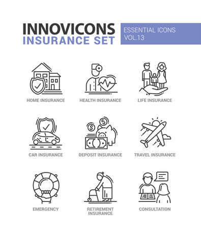 Types of Insurance - modern vector thin line flat design icons and pictograms set. Home, health, life, car, deposit, travel, retirement insurance, emergency, consultation Vectores