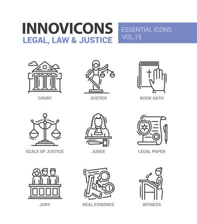 witness: Legal, law, justice - modern vector flat line design icons and pictograms set. Court, judge, legal document, book of oath, real evidence, jury, witness