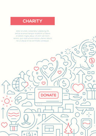 Charity - vector simple line design brochure poster, flyer presentation template, A4 size layout.