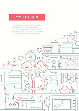 alumnos en clase: My kitchen- vector simple line design brochure poster, flyer presentation template, A4 size layout. Happy woman with cooking things