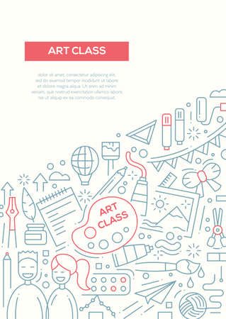 creativity: Art class - vector simple line design brochure poster, flyer presentation template, A4 size layout