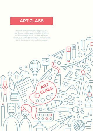 alumnos en clase: Art class - vector simple line design brochure poster, flyer presentation template, A4 size layout