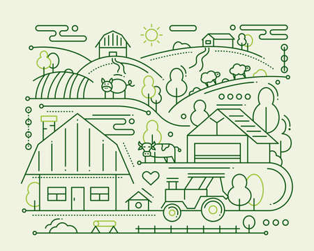tree design: Farm - line design composition