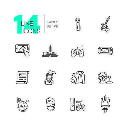 video icons: Video Gaming - line icons set